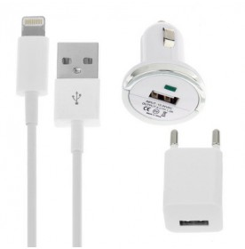 Kit 3 en 1: Cargador Auto + Enchufe + Cable USB para iPhone 5 / 5C / 5S / 6 / 6 Plus