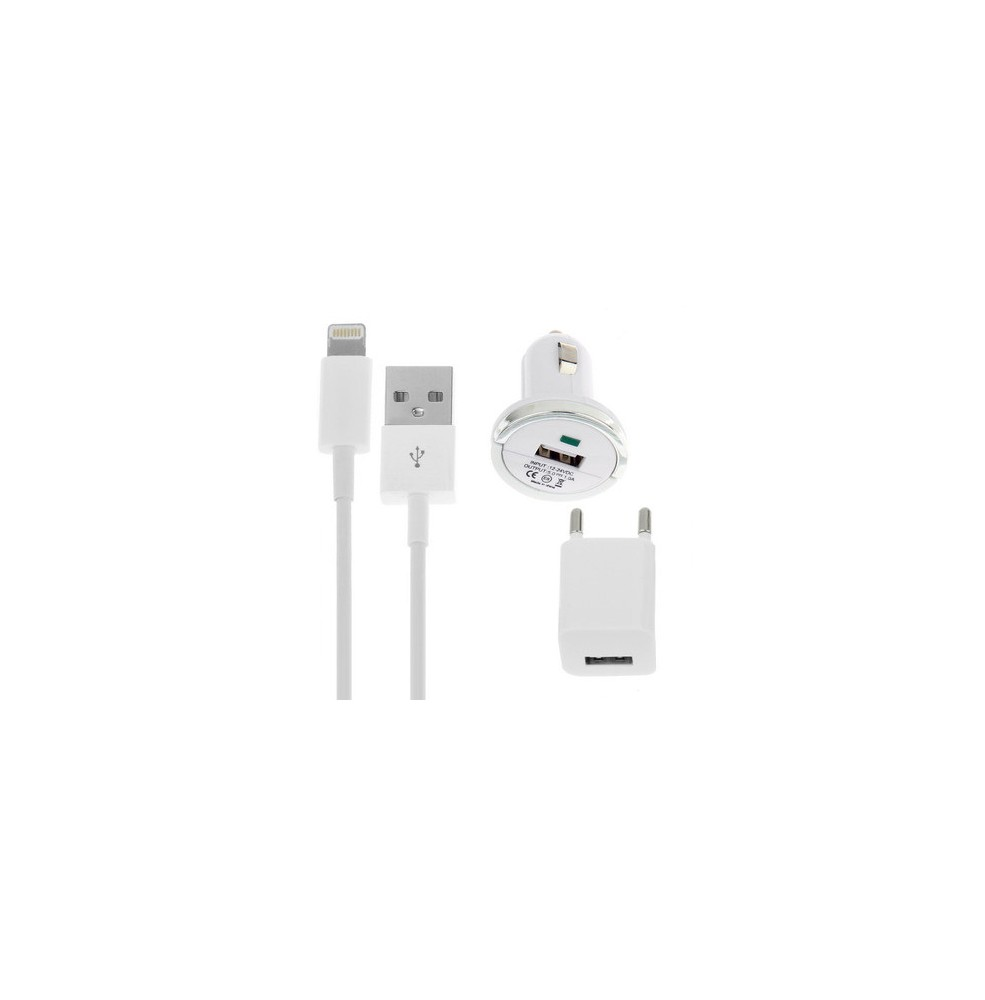 4f0f4f1f0eb Kit 3 en 1: Cargador Auto + Enchufe + Cable USB para iPhone 5 /