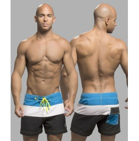 Surfcomber Swim Shorts, Black/White/Electric Blue